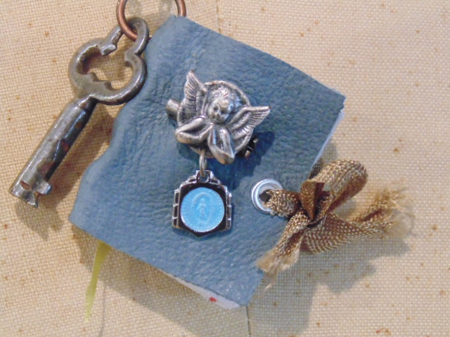 Blue Leather Mini Book Pendant Necklace