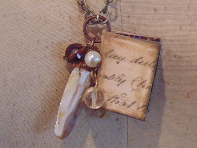 Script Miniature Book Pendant Necklace