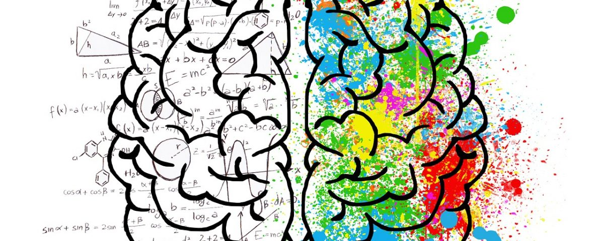 a drawing of the left and right hemisphere of the human brain. One side is coloured the other mathematical equations